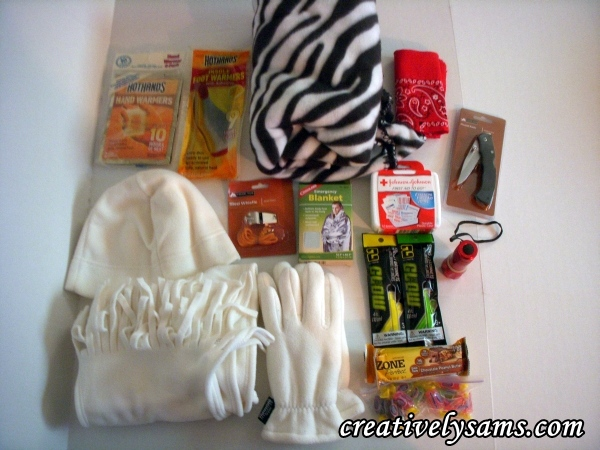 The supplies for the Winter Emergency Kit