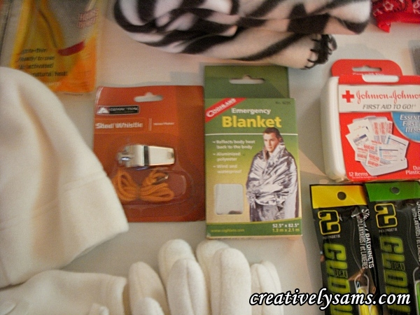 Whistle, Blanket, First Aid Kit for Winter Emergency Kit