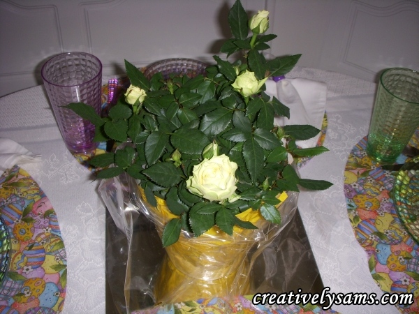 Yellow tablescapecreatively sams it all started with my easter gift from my husband he gave me a small rosebush that was wrapped in yellow paper he knows me so well negle Gallery