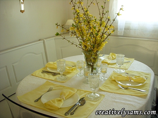 Yellow Tablescape with Forsythia