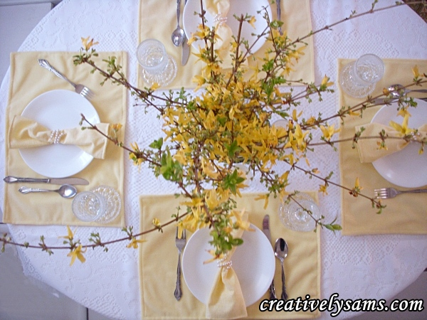 Yellow Tablescape view from the top