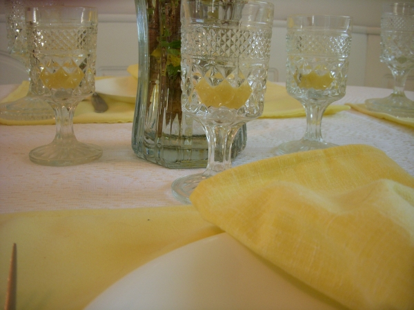 yellow candles in Wexford Demitasse goblets for yellow tablescape