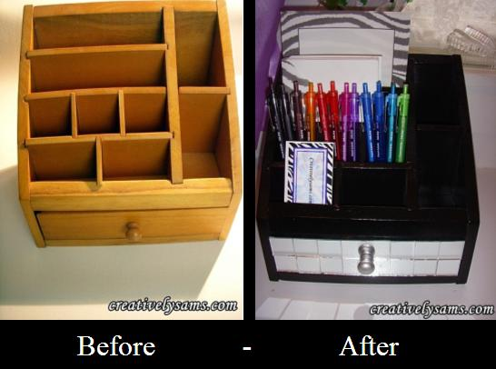 Desk organizer, before & after