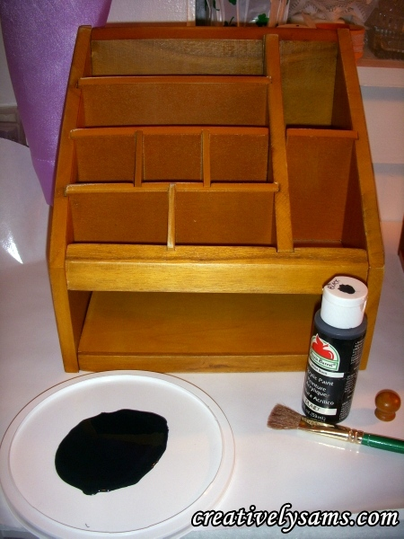 paint supplies for Wooden desk organizer