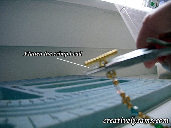 flattening the crimp bead Birthstone Bracelet