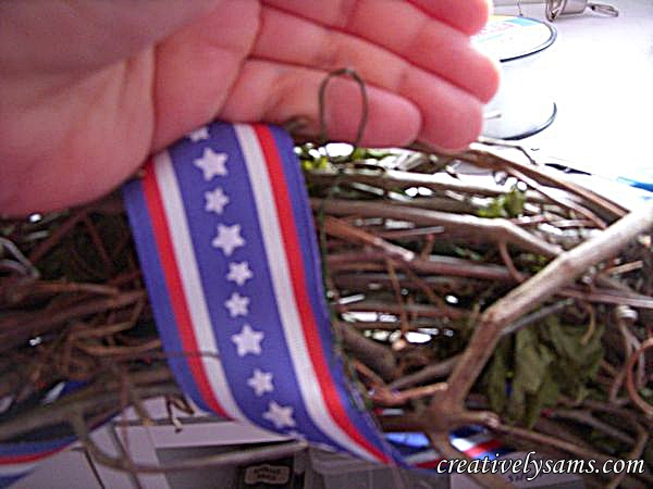 Add Wire to hang. Patriotic Wreath