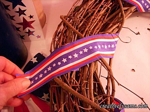 Gluing Ribbon.to Patriotic Wreath