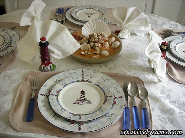 Lighthouse tablescape Sand Centerpiece : lighthouse dinnerware - Pezcame.Com