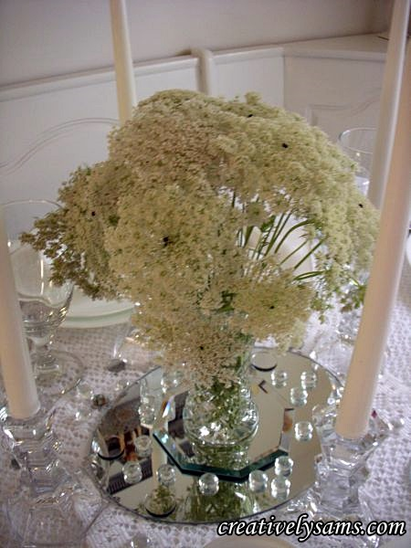 White & Crystal Tablescape Centerpiece