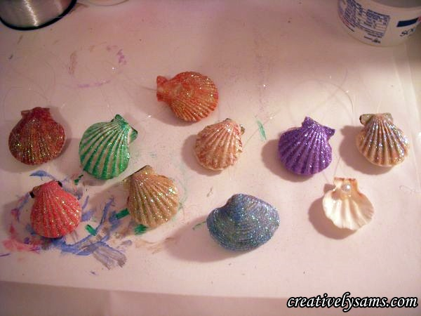 Finished Glittered Shell Ornaments