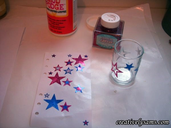 Decorating a Votive Candle Holder-Glitter Supplies