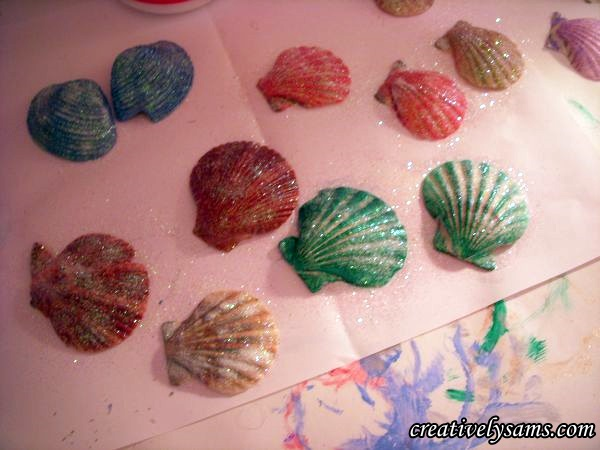 Glitter added to dry brushed shells