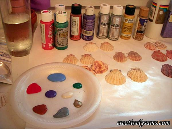 Glittered Shell Ornaments supplies