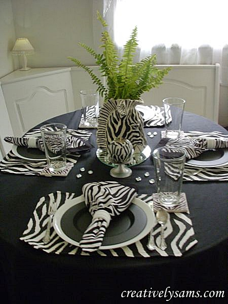 Zebra Tablescape with Zebra Candles