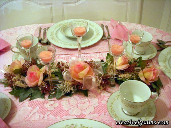 Pretty in Pink Tablescape Centerpiece
