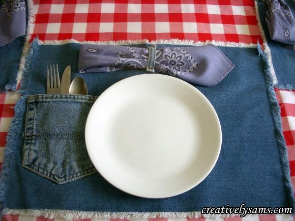 Denim Place Mats - Place Setting