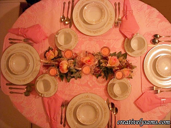 Pretty in Pink Tablescape View from the top