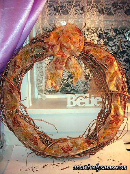 Add Bow to Copper Fall Wreath