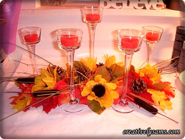 Add candles to Fall Garland Centerpiece