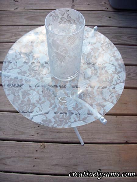 Lacy Table & Lace Vase