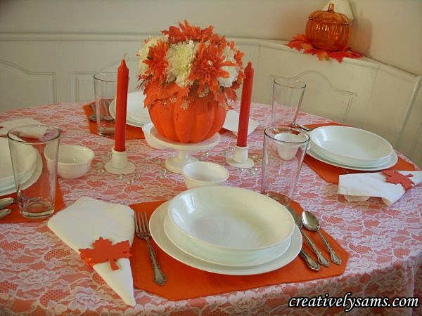 White & Orange Fall Tablescape