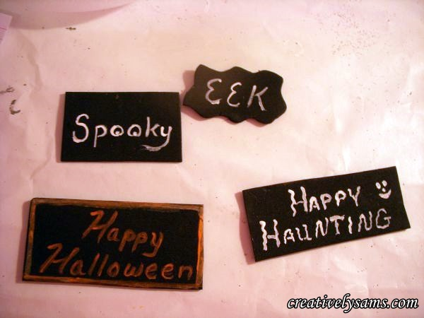 Cutting out Halloween Signs
