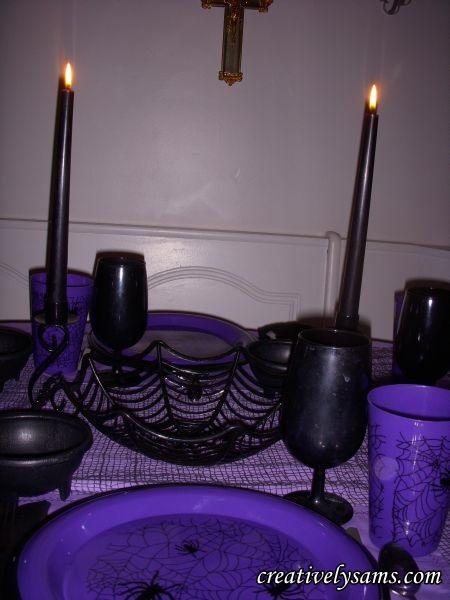 Purple Halloween Tablescape Centerpiece