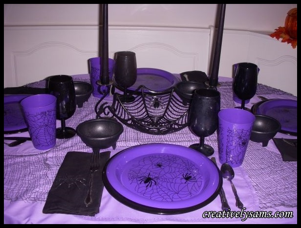 Purple Halloween Tablescape