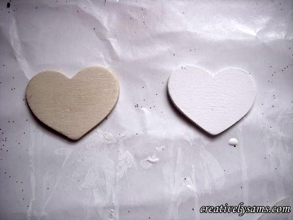 Wooden Ghost Ornaments hearts
