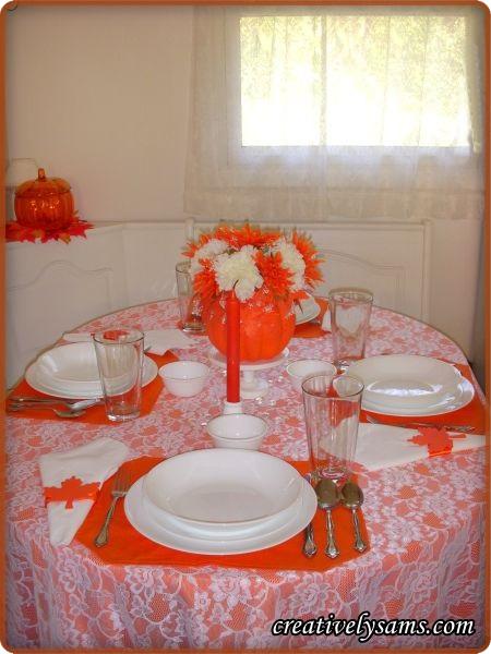 White & Orange Fall Tablescape
