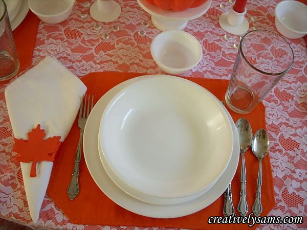 White & Orange Fall Tablescape Place Setting