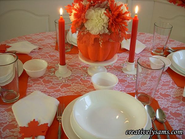 White & Orange Fall Tablescape Lit