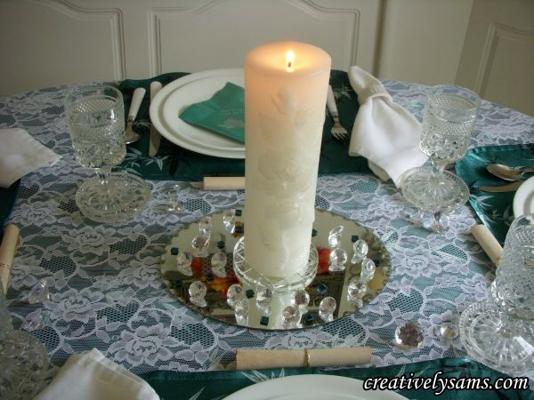 Anniversary Tablescape Unity Candle lit