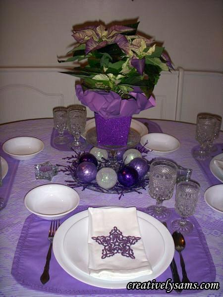 Purple Christmas Tablescape Centerpiece