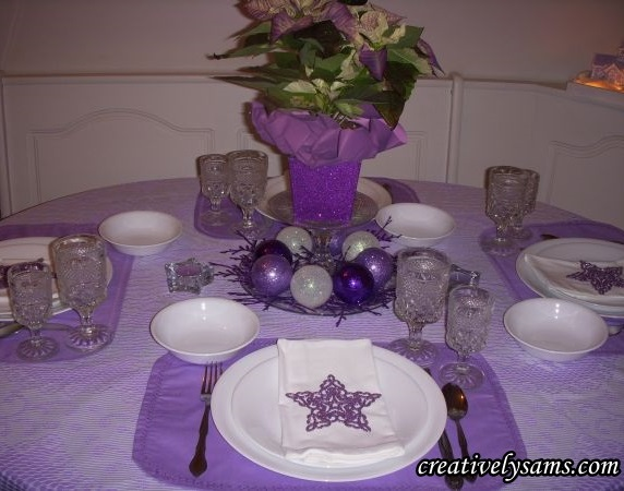 Lilac Christmas Tablescape