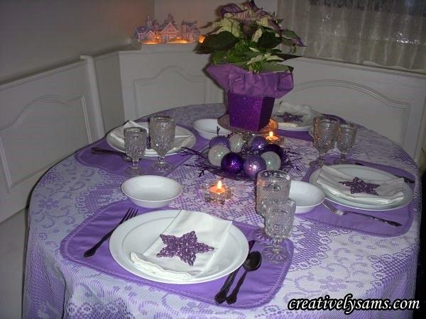 Purple Christmas Tablescape Lit