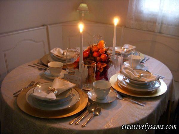 Lit Gold Thanksgiving Tablescape