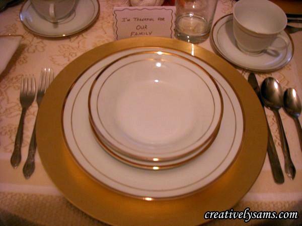 Gold & White China Place Setting