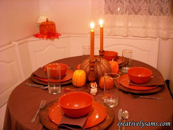 Fall Tablescape lit handpainted candles