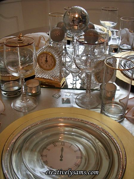 New Year's Tablescape Crystal Clocks