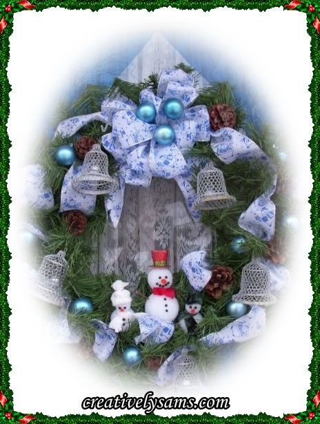 Snowman Wreath hanging Framed