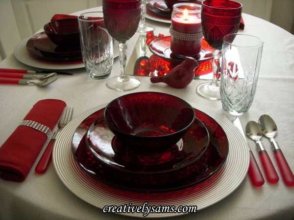 Red & Silver Tablescape Place Setting