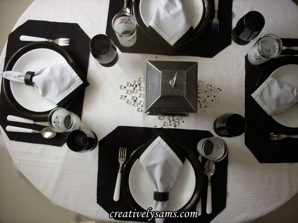 Black & White Winter Tablescape View from the top