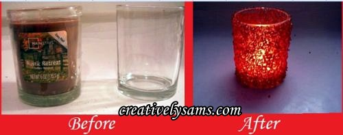 Beaded Candles before & after