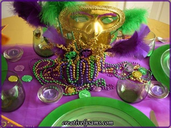 Mardi Gras Tablescape Centerpiece