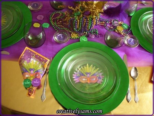 Mardi Gras Tablescape Place Setting