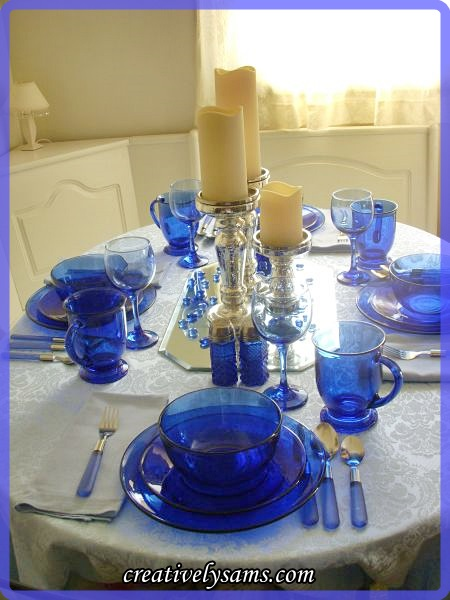 Blue on Blue Tablescape