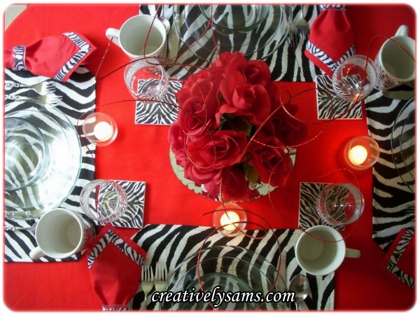 Red & Zebra Tablescape