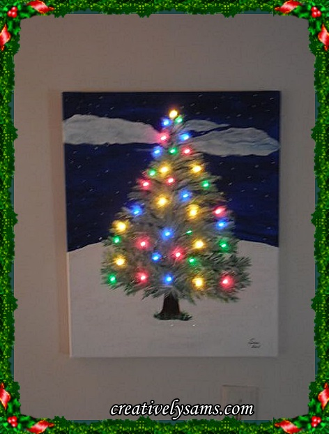 Lit Christmas Tree Painting