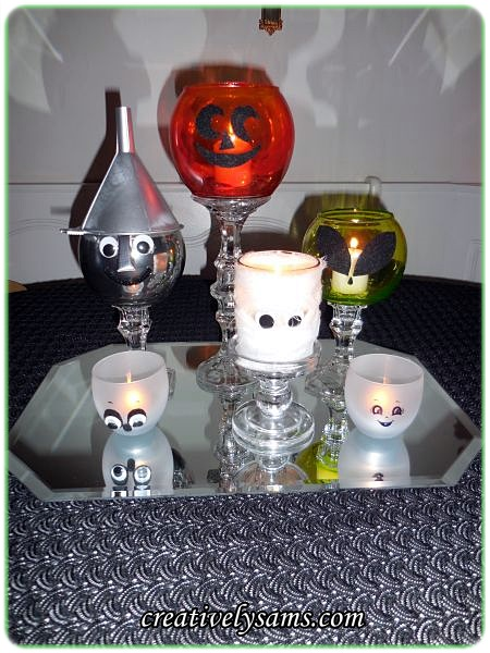 Halloween Mod Podge Candle Holders